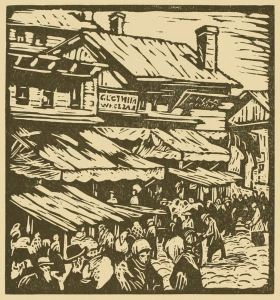 A 1925 woodcut of Maxwell Street by Todros Geller.
