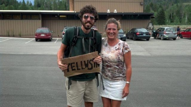 The author with one of his benefactors at a ranger station near the entrance to Yellowstone National Park.